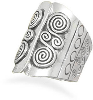 Coil Design Ring with Open Top Design 925 Sterling Silver