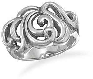 Oxidized Scroll Design Ring 925 Sterling Silver