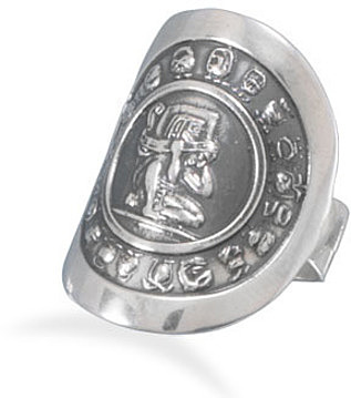 Oxidized Mayan Calendar Ring 925 Sterling Silver
