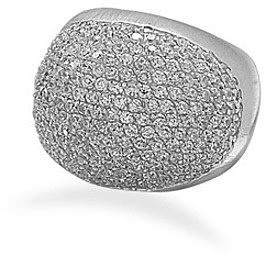 Rhodium Plated Domed CZ Ring 925 Sterling Silver