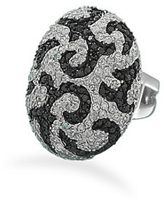 Rhodium Plated Black and White CZ Ring 925 Sterling Silver