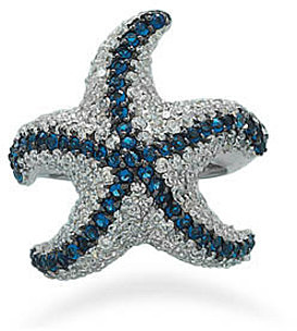 Rhodium Plated Blue and Clear CZ Starfish Ring 925 Sterling Silver
