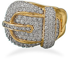14 Karat Gold Plated CZ Buckle Ring 925 Sterling Silver