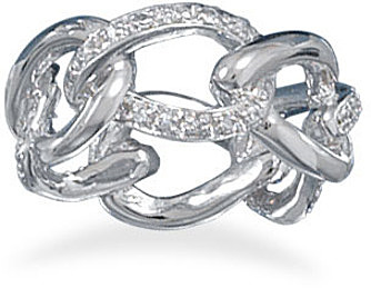 Rhodium Plated Link Style Ring 925 Sterling Silver