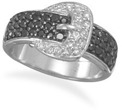 Rhodium Plated CZ Belt with Buckle Ring 925 Sterling Silver