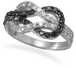 Rhodium Plated Black and Clear CZ Knot Ring 925 Sterling Silver