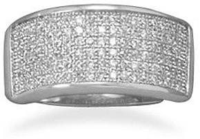 Rhodium Plated Pave CZ Ring 925 Sterling Silver