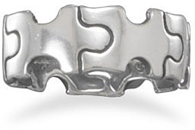 Oxidized Puzzle Piece Ring 925 Sterling Silver