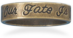 Oxidized Brass Message Ring