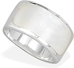 White Shell Inlay Ring 925 Sterling Silver