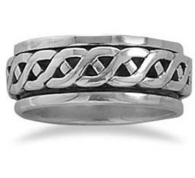 Rope Design Spin Ring 925 Sterling Silver
