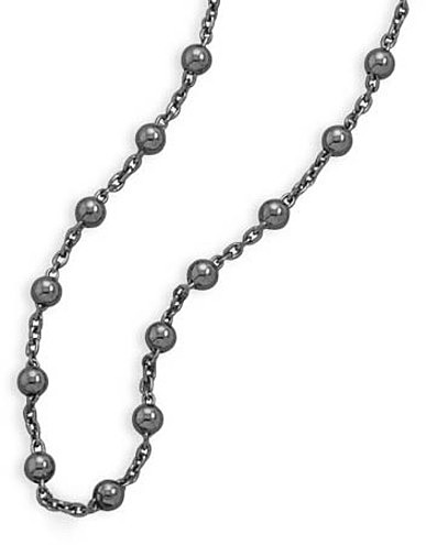 "18"" Black Rhodium Plated Cable and Bead Chain 925 Sterling Silver - DISCONTINUED"