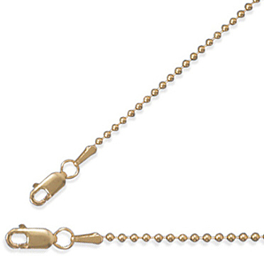 "18"" 1.5mm (0.06"") 14/20 Gold Filled Bead Chain"