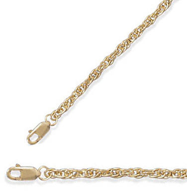 "30"" 2.5mm (1/10"") 14/20 Gold Filled Rope Chain"