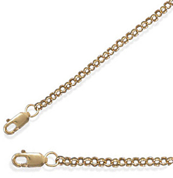"16"" 2.3mm (0.09"") 14/20 Gold Filled Rolo Chain 925 Sterling Silver"