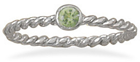 Rhodium Plated Light Green Glass Ring 925 Sterling Silver