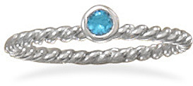 Rhodium Plated Aqua Glass Ring 925 Sterling Silver