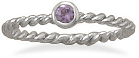Rhodium Plated Purple Glass Ring 925 Sterling Silver