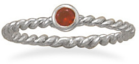 Rhodium Plated Red Glass Ring 925 Sterling Silver