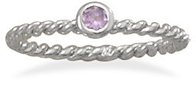 Rhodium Plated Lavender Glass Ring 925 Sterling Silver
