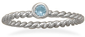 Rhodium Plated Light Blue Glass Ring 925 Sterling Silver