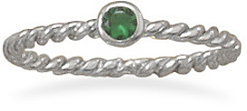 Rhodium Plated Dark Green Glass Ring 925 Sterling Silver