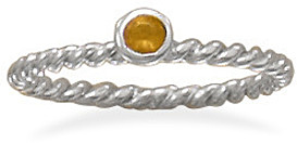 Rhodium Plated Orange Glass Ring 925 Sterling Silver