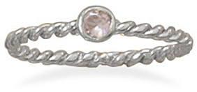 Rhodium Plated Pink Glass Ring 925 Sterling Silver