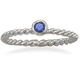 Rhodium Plated Dark Blue Glass Ring 925 Sterling Silver