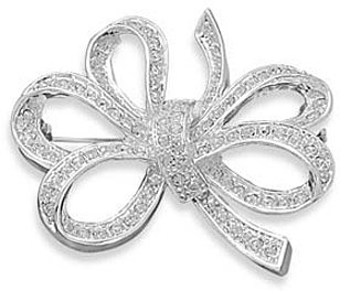 Silver Plated and Crystal Bow Fashion Pin