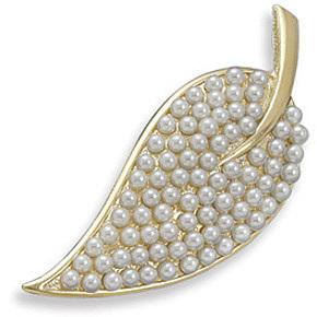 14 Karat Gold Plated and Pearl Leaf Fashion Pin