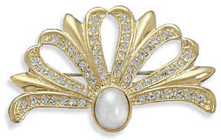 14 Karat Gold Plated Crystal and Pearl Fashion Pin