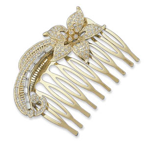 "2"" 14 Karat Gold Plated Fashion Hair Comb with Crystal - DISCONTINUED"