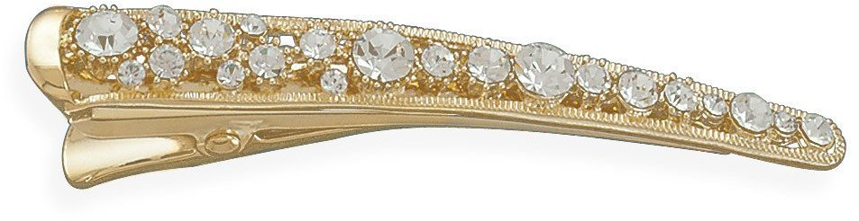 14 Karat Gold Plated Crystal Fashion Hair Clip