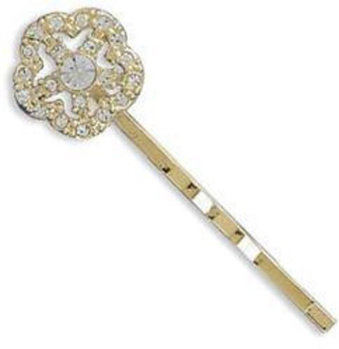 14 Karat Gold Plated Fashion Bobby Pin with Crystal Flower