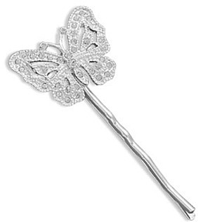 Silver Plated Fashion Bobby Pin with Crystal Butterfly