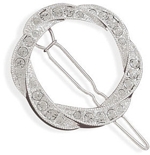 Silver Plated Crystal Open Circle Fashion Barrette