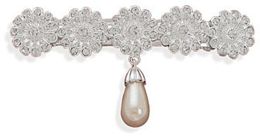 Silver Plated Crystal Fashion Hair Clip with Simulated Pearl Drop