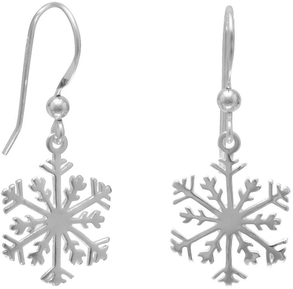 Small Snowflake Earrings 925 Sterling Silver