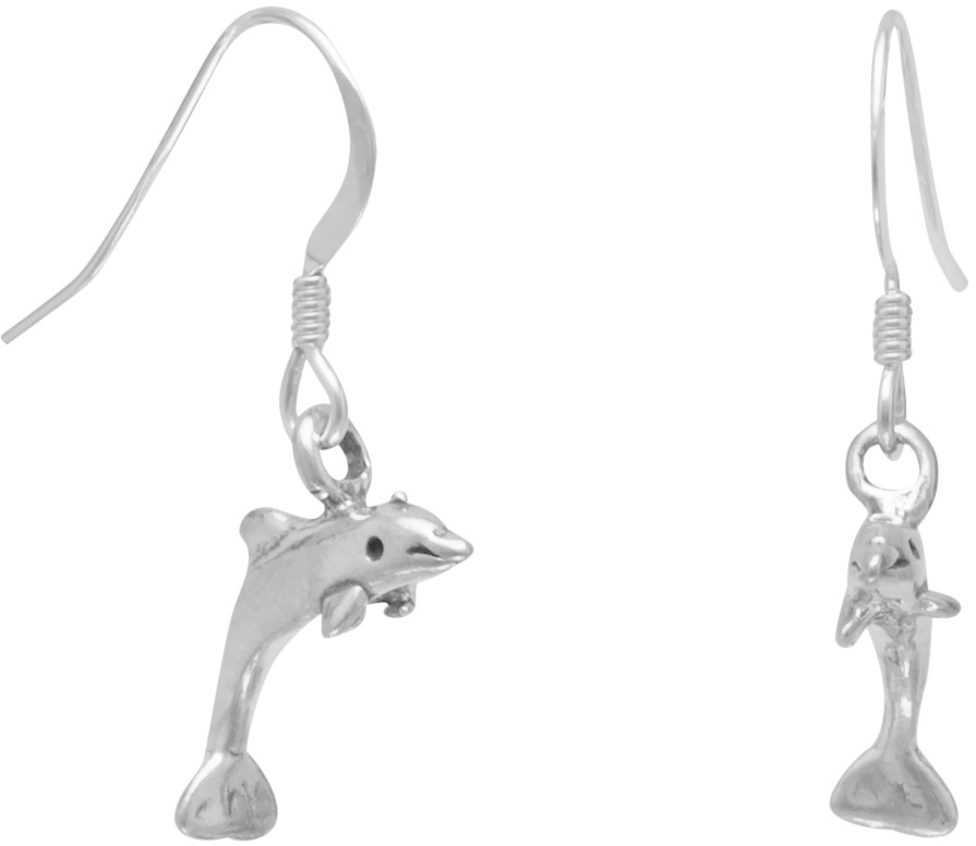 Small Dolphin Earrings on French Wire 925 Sterling Silver