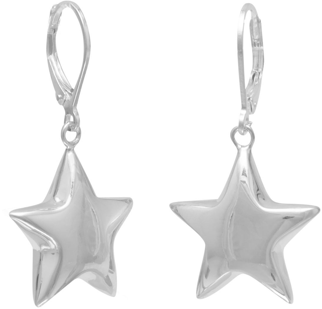 Puffed Star on Lever Earrings 925 Sterling Silver