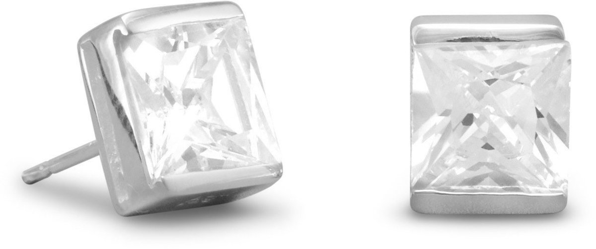 "7mm (2/7"") Square CZ Post Earrings 925 Sterling Silver"