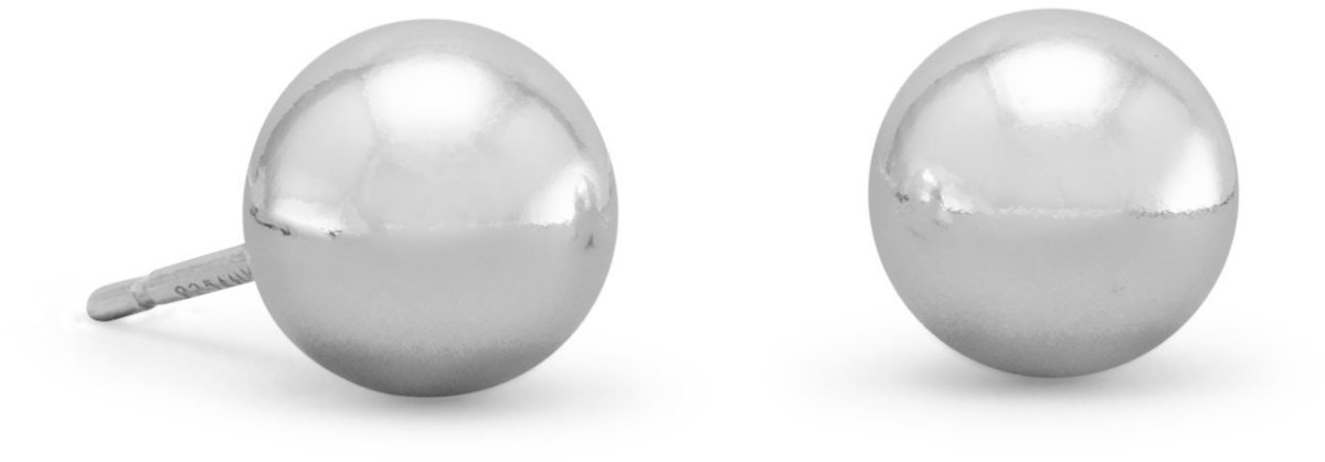 "8mm (1/3"")  Ball Stud Earring 925 Sterling Silver"