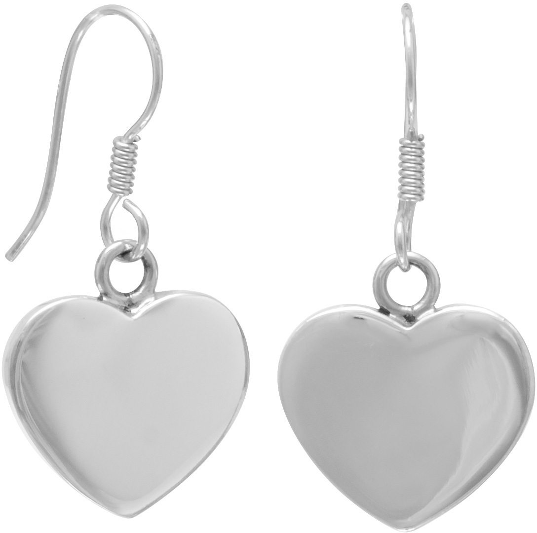 "21mm (5/6"") Heart Engravable  Earrings on French Wire 925 Sterling Silver"