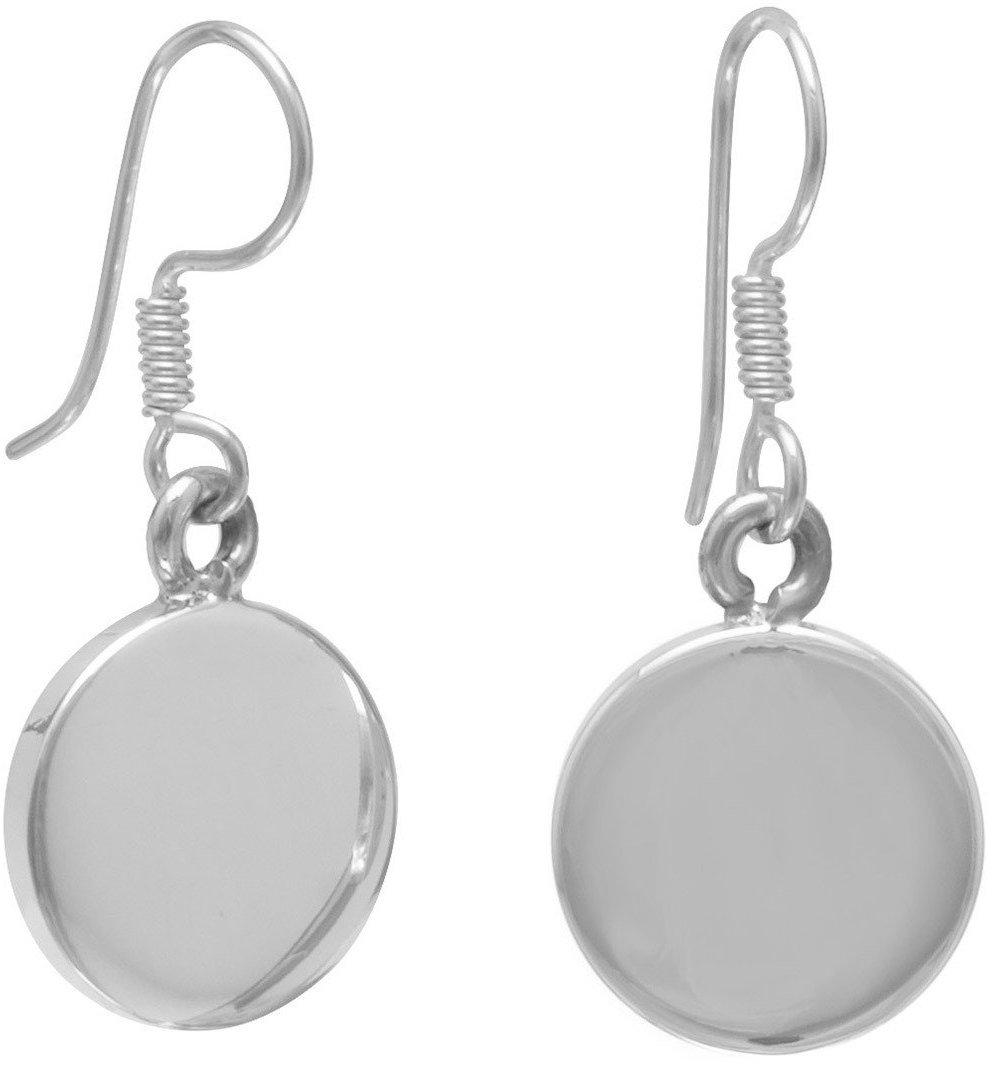 "12mm (7/16"") Round Engravable Tag Earrings on French Wire 925 Sterling Silver"