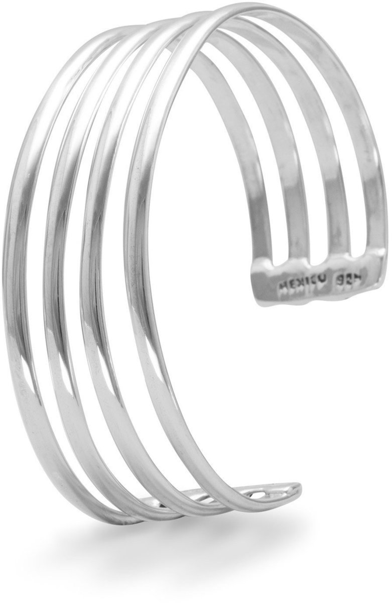 4 Row Polished Cuff 925 Sterling Silver