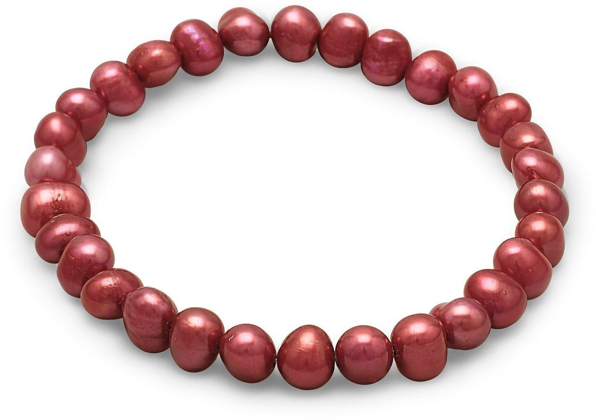 Red Cultured Freshwater Pearl Stretch Bracelet
