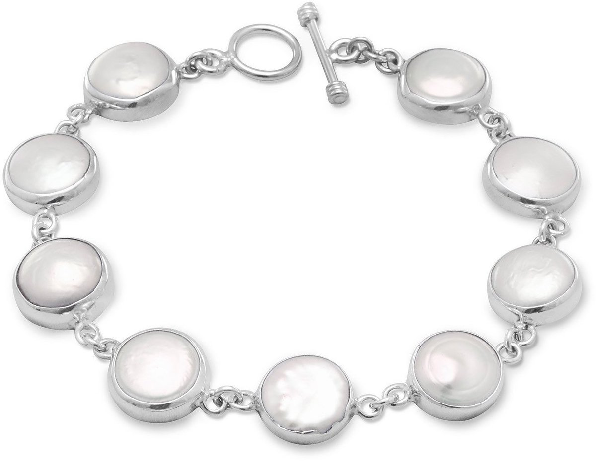 "8"" Cultured Freshwater Coin Pearl Toggle Bracelet 925 Sterling Silver (23258-bt)"
