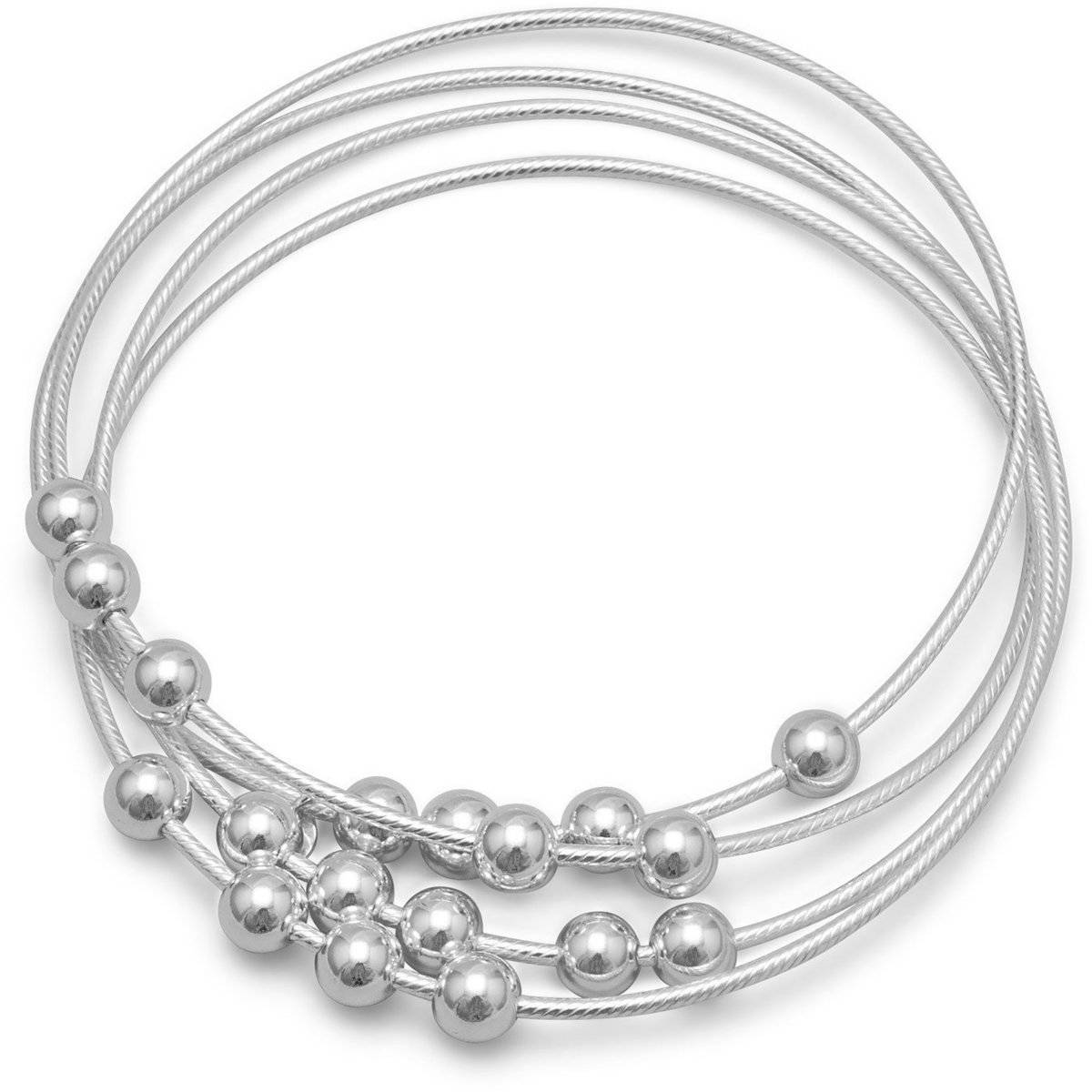 4 Beaded Bangle Bracelet Set 925 Sterling Silver