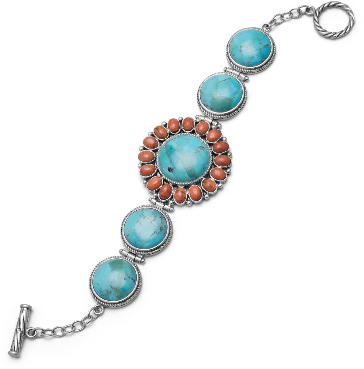 "7.5"" Turquoise and Coral Sunburst Toggle Bracelet 925 Sterling Silver"